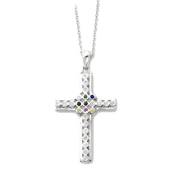 Sterling Silver The Lord Is My Shepherd 18in Cross Necklace