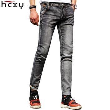 Men's Jeans Slim denim pants Straight Slacks