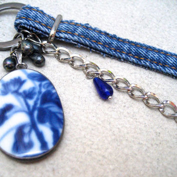Denim Blue Flower Assemblage Necklace - Long Dangling Asymmetrical Necklace - Silver - Cobalt Blue - Denim Jewelry