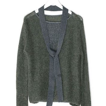 Olive-Green Knit Sweater