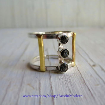 Ring Sterling 14kt Gold Black Rough Diamond Architectural Cage Jewelry Reclaimed Metal