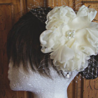 Ivory Bridal Headpiece, Wedding Floral Headband, Flower Hair piece, Custom Colors Available