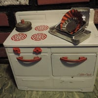 Vintage Toy Oven Little Lady Toy Stove Rustic Child's White Metal Oven featuring Toy Pans