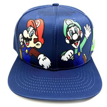 Trendy Winter Jacket Super Mario Bros Mario Luigi Yoshi Mushroom Snapback Baseball Hip Hop Caps Fashion Summer Men Women Sun Hats Couple Caps AT_92_12