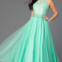 Floor Length Sleeveless Gown with Lace Bodice
