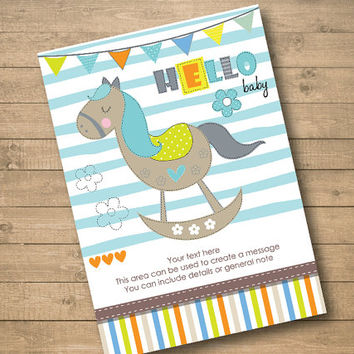 vintage rocking horse – Boy or Girl Baby Shower Invitation –Ready to print – Put your own text - Instant Download