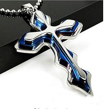 SHIP BY USPS: Men Stainless Steel Cross Pendant Metal Chain Necklace Blue