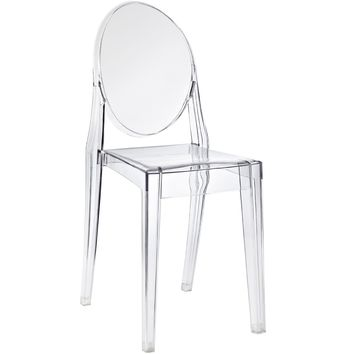 Pair of Accent Transparent Dining Chair armless Clear See Through (set of two)