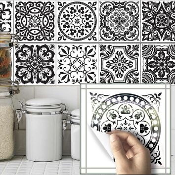 10Pcs/set 20*20cm Vintage Self Adhesive Tile Stickers PVC Tile Wall Decals DIY Wall Stickers Home Decor For Living Room Bedroom