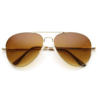 Classic Metal Aviator Sunglasses w/ Spring Temples