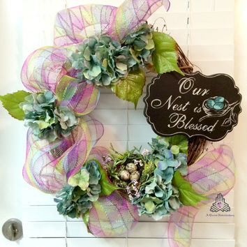 SALE  Our Nest Is Blessed Deco Mesh Grapevine Wreath