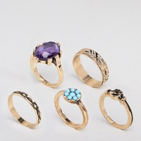 ASOS DESIGN pack of 5 vintage style ornate hand and stone rings at asos.com