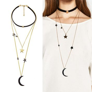 Black Velvet Choker Necklaces for Women Three Layers Metal Stars Moon Pendant Necklace Fashion Jewlery