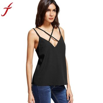 Women Blouses 2017 Casual Sleeveless Bandage Tops Backless Sexy Deep v Neck Black Tank Top blusa #LSN