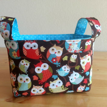 Small Fabric Storage Bin Basket - Fall Owls with Turquoise Dot