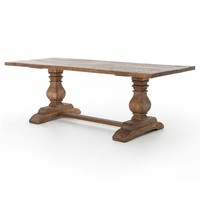 Arbois French Country Reclaimed Wood Bleached Pine Trestle Dining Table - 87 inch