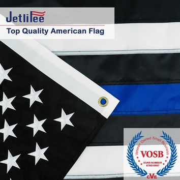 Black White Thin Blue Line American Flag 3x5 Ft Embroidered Stars Sewn Stripes Brass Grommets