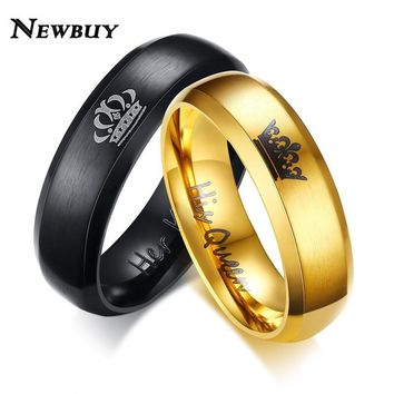 Cool NEWBUY 2017 Fashion Her King And His Queen Crown Ring For Women Men Black/Gold Color Couple Wedding Ring Promise JewelryAT_93_12