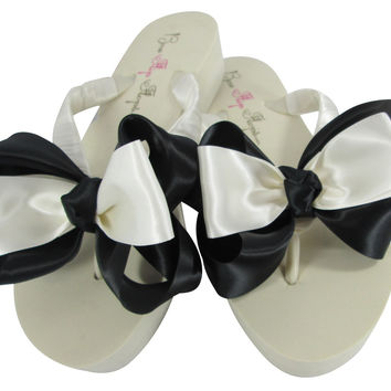 Black & Ivory Bridesmaid Bow Flip Flops with Platform