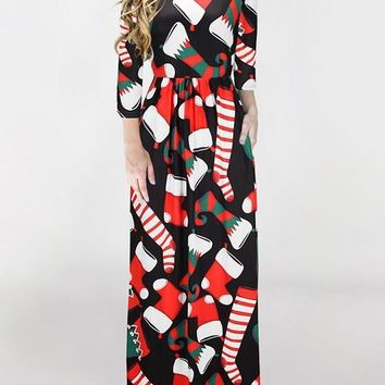 New Black Floral Draped Round Neck Long Sleeve Christmas Cute Maxi Dress