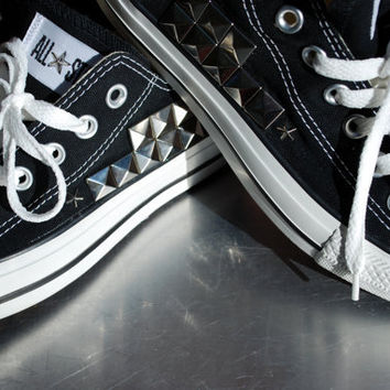 black with silver studs converse