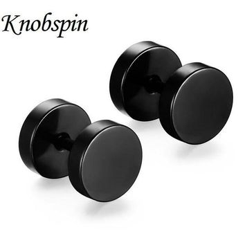 MDIG57D 5 colors New fashion 10*8 MM Delicate Double Round Stud Earrings 316L Stainless Steel Hip Pop Rock Dumbbell Men's Earrings
