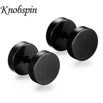 CREY8UV 5 colors New fashion 10*8 MM Delicate Double Round Stud Earrings 316L Stainless Steel Hip Pop Rock Dumbbell Men's Earrings