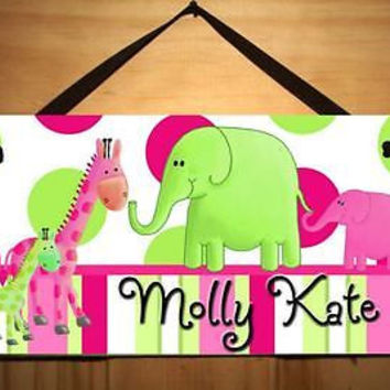 Kids Door Sign Hot Pink Lime Elephant Room Nursery Personalized Name Sign DS0212