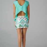 Mint Asymmetric Top with Open Back