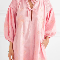 Innika Choo - Smocked embroidered linen dress