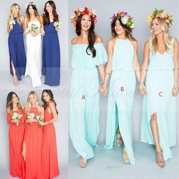 2016 Summer Beach Bohemian Bridesmaid Dresses Mixed Chiffon Split Side Custom Made Maid Of Honor Sexy Boho Wedding Party Gowns