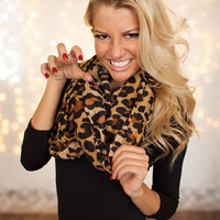 Brown Animal Print Infinity Scarf