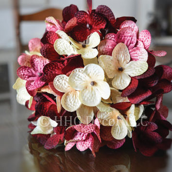 Hydrangea | Hand Blended Hydrangea Stem | Burgundy Hydrangeas | Valentine's Day | Artificial Hydrangea | Floral Gift for Mom | Mother's Day