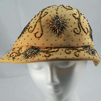 Vintage to Antique Lady's Hat Veola Modes With Beads and Bling (BC)