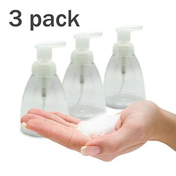 Foaming Soap Dispenser Set of 3 pack 300ml (10 oz) Empty Bottles Hand Soap Liquid Containers. Save Money! Less soap is used per hand washing session Perfect for Castile Liquid Soap