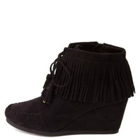 City Classified Fringe Moccasin Wedge Booties - Black