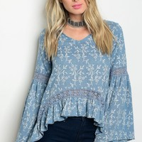 C21-B-3-T4202 INDIGO WHITE TOP 3-2-1