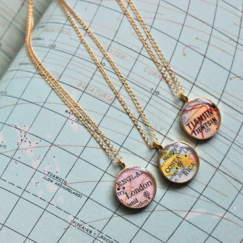 Gold Plated Vintage Map Necklace