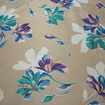 1 & 7/8 Yard Cut of 1970s Vintage Polyester Jesery Fabric, Tropical Look, Tan with Flowers, Home Sewing Fabric, Home Decorating Fabric