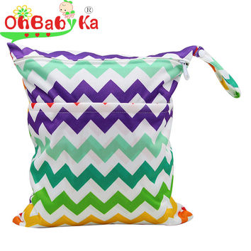 OhBabyKa Baby Diaper Bags Printed Double Zippered Wet/Dry Bag Waterproof Wet Cloth Diaper Backpack Reusable Diaper Cover WetBag