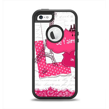 The Paris Pink Illustration Apple iPhone 5-5s Otterbox Defender Case Skin Set