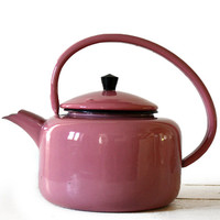 Beautiful Large Vintage FRENCH PINK enamel Kettle
