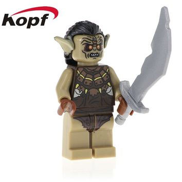 Single Sale The Lord Of The Rings Uruk-hai Azog Bilbo Learning Action Figures Building Blocks Children Toys Model Gift PG536