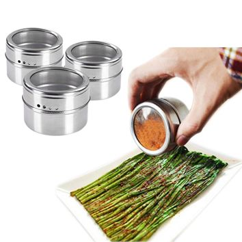 1pcs Stainless Steel Seasoning Container Condiment Pot Salt Sugar Pepper Storage Organizer for Roasting/ Sauting/Baking/Grilling