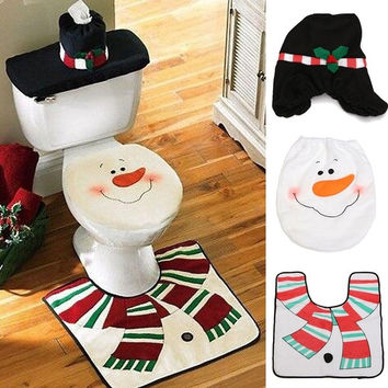 Xmas Toilet Seat Cover Christmas Decorations Santa Snowman Bathroom Rug Set Gifts Home