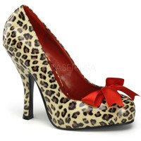 Pinup Couture Cutiepie Cheetah Slip On Pumps with Bow