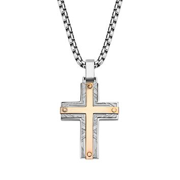 316L Stainless Steel 2Tone Rose Gold IP Labyrinthine Cross Pendant Men's Necklace 22""