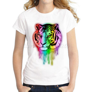 2017 new Cosmic Fire Tiger Roar fashion design Women's animal neon color Printed T shirt hipster lady casual slim tops/tee