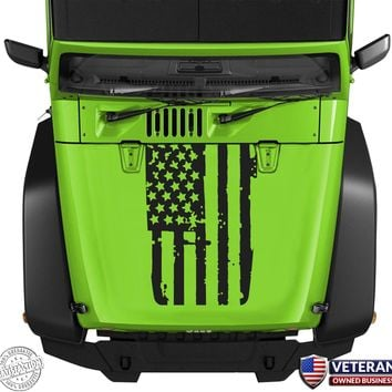 American Flag Hood Blackout Vinyl Decal Sticker fits: Jeep Wrangler JK TJ YJ