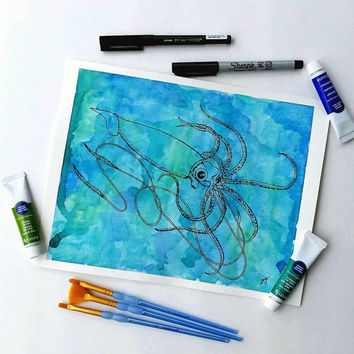 Ocean decor  -  Watercolor painting -  Squid decor -  Teal Home Decor - sea creature art -  Giant Squid wall Art - watercolor and ink art